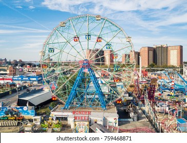 NEW YORK, USA - SEPTEMBER 26, 2017: Wonder wheel at Coney island amusement park aerial view. Located In southern Brooklyn along the waterfront it is a entertainment hot spot of NYC
