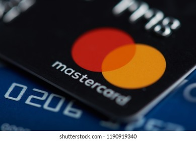 New york, USA - september 27, 2018: Mastercard plastic electronic card macro close up view