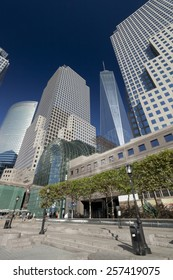 NEW YORK, USA - SEPTEMBER 27, 2014: Freedom Tower in Lower Manhattan. One World Trade Center is the tallest building in the Western Hemisphere and the third-tallest building in the world.