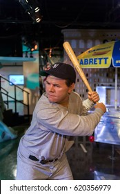 NEW YORK, USA - SEPTEMBER 27, 2013: Babe Ruth wax figure at Madame Tussauds wax museum in New York