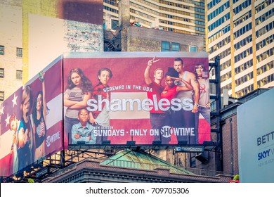 New York, USA - September 27, 2016: A large billboard advertising contemporary television program Shameless along the streets of Broadway.