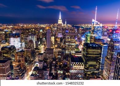 NEW YORK, USA - September 29, 2018: MANHATTAN, NEW YORK CITY. Manhattan skyline and skyscrapers aerial view. New York City, USA.