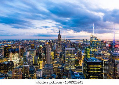 NEW YORK, USA - September 29, 2018: MANHATTAN, NEW YORK CITY. Manhattan skyline and skyscrapers aerial view. New York City, USA.