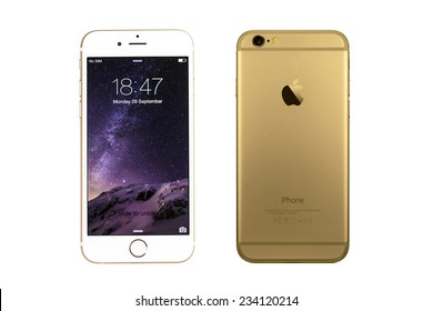 New York, USA - September 29, 2014: Front and back view of a gold iPhone 6 showing the home screen with iOS8. Isolated on white.