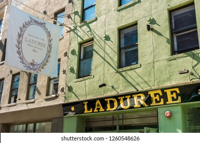 NEW YORK, USA - September 30, 2018: Laduree store in New York Soho. Manhattan. Laduree is a French luxury bakery and It is one of the world's best-known premier sellers of the double-decker macaron.