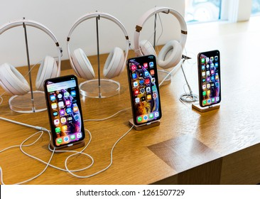 NEW YORK, USA - September 30, 2018: New iPhone models (iPhone X and iPhone X Plus) in APPLE STORE. Soho, Manhattan. New York City. USA.