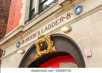NEW YORK, USA - SEPTEMBER 3TH 2019: Facade of Hook and Ladder 8, made famous by the film Ghostbusters.