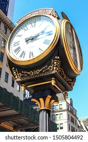 NEW YORK, USA - SEPTEMBER 3TH 2019: Trump Tower Clock detailed close up. Placed in front of the Trump Tower on Fifth Avenue in midtown Manhattan.