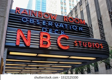 NEW YORK, USA - SEPTEMBER 3TH 2019: NBC Studios sign, Rockefeller Center in midtown Manhattan. Known as the world headquarters for NBC News, the Saturday Night Live studios and the Rainbow Room.