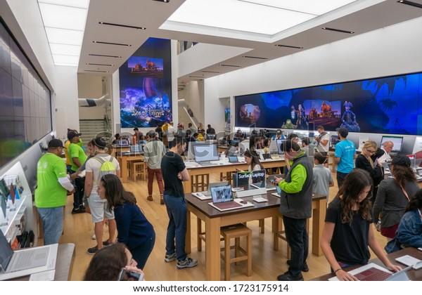 New York, USA - September 6, 2019: Microsoft store interior in 5th avenue in Manhattan