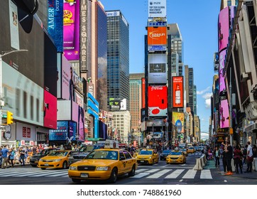 NEW YORK, USA - SEPTEMBER 8, 2017: The crowded Times Square in New York, USA