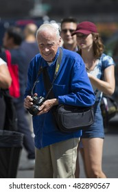 New York, USA - September 9, 2014: New York Times photographer Bill Cunningham attends 9th annual Jazz Age lawn party by Michael Arenella & the Dreamland Orchestra on Governors Island
