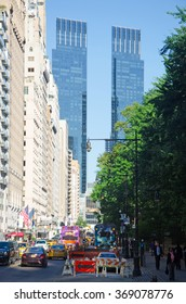 New York, Usa: skyline with Time Warner Center on September 14, 2014. Time Warner Center, completed in 2003, is the twin-tower building which encircles the western side of Columbus Circle