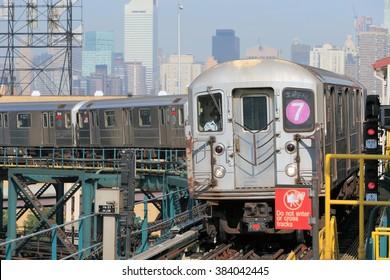 NEW YORK, USA-AUG 22: LINE 7 Subway MTA at Queensboro Plaza, August 22, 2012