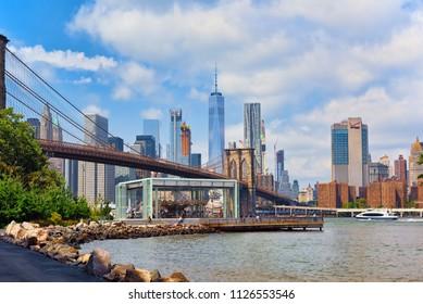 New York, USA-August 07, 2017 : View on Jane's Carousel near Brooklyn Bridge across the East River between Manhattan and Brooklyn.
