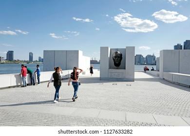 NEW YORK, USA-JUNE 14, 2018: Franklin D. Roosvelt Four Freedoms Park, on Roosvelt Island, in New York.