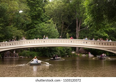 NEW YORK, USA-june 8, 2017: Boat trips in a day clouds in the central park of Manhattan, New York on June 8, 2017