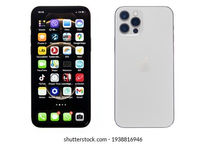 New York, USA-March 16, 2021: Front and rear view of Apple iPhone 12 Pro Max smartphone with 6.1-inch display, isolated on white background.