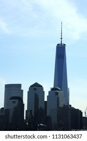 New York; USA-May 07; 2014- Manhattan New York Skyline Freedom Tower