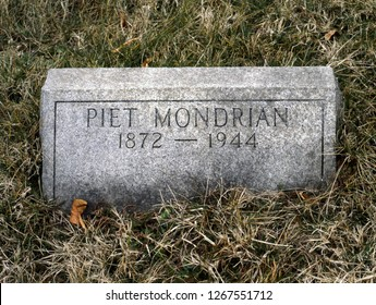 NEW YORK, USA-NOVEMBER 13, 2016:The grave of the world famous Dutch painter Piet Mondrian at Cypress Hills Cemetery; New York; USA
