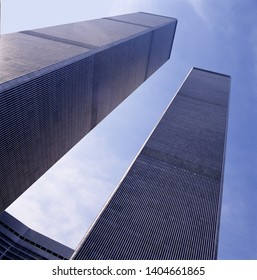 NEW YORK, USA-NOVEMBER 25 1998:The World Trade Center Twin Towers in 1998 seen from the entrance and looking up seen in frog perspective, NYC, USA