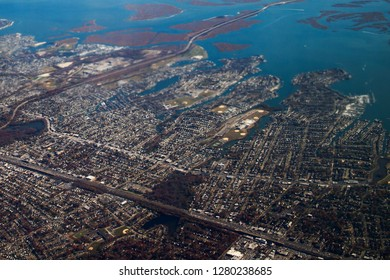 New York view from airplane