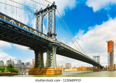 New York view of the Lower Manhattan and the Manhattan Bridge across the East River. USA.