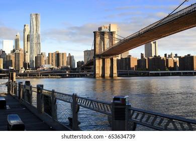 New York view of the Manhattan and Brooklyn bridge