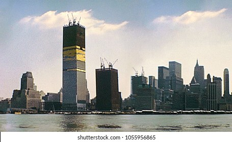 New York vintage image on 1970 about construction site of Twin Towers under construction on seventy. New York skyline from New Jersey side with World Trade Center and Lower Manhattan.