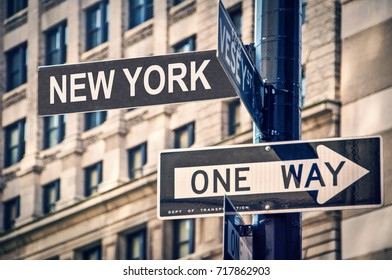 New York written on a roadsign, in New York City, USA