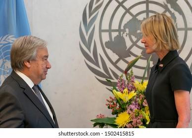 New York, Y - September 12, 2019: US Ambassador Kelly Craft presents credentials as Permanent Representative to UN Secretary-General Antonio Guterres at UN Headquarters