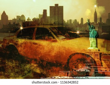 New York Yellow Cab. Liberty Statue. Manhattan skyline. 3D rendering