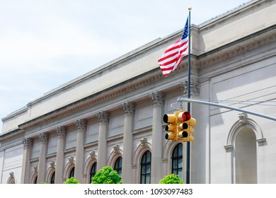 New York yellow traffic light at Museum mile