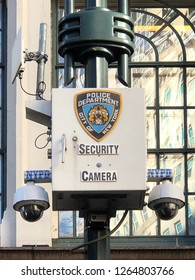 NEW YORK, NEW YORK-DECEMBER 7, 2018:  NYPD security cameras keeping watch in front of Macy's department store.