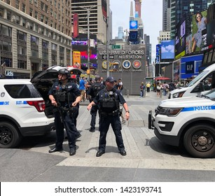 NEW YORK, NEW YORK-JUNE 2019: NYPD Counterterrorism unit in Manhattan's Times Square.