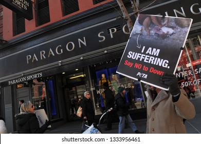 New York, New York-March 2019: Members of PETA (Peta for the Ethical Treatment of Animals) hold a demonstration in front of a sporting goods store in Manhattan.