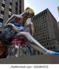 New York, New York/United States - June 12, 2017: Rockefeller Plaza Ballerina