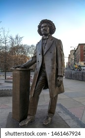 NEW YORK, NEW YORK/USA - April 3, 2019: Statue of Frederick Douglass on Circle near Central Park.