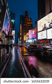 New York, New York/USA - February 6th 2020: Traffic jam on Times Square on a rainy evening