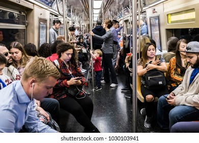New York, New York/USA-09/30/2017: Scene in New York subway.