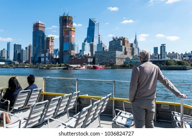 New York, New York/USA-10/01/2017: Tourists on a river cruise in New York City.