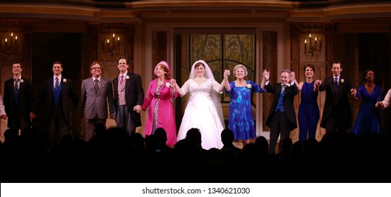 NEW YORK-APR 14: The cast at the curtain call for the Broadway opening night for 'It Shoulda Been You' at The Edison Ballroom on April 14, 2015 in New York City.