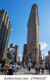 NEW YORK-APRIL 28-A view of the Flatiron Building and public space on April 28, 2015 in New York City.