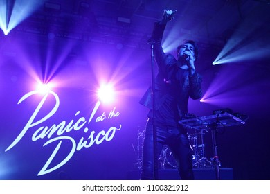 NEW YORK-DEC 10: Brendon Urie of Panic! at the Disco performs onstage at Pandora's Holiday Show at Pier 36 on December 10, 2015 in New York City.