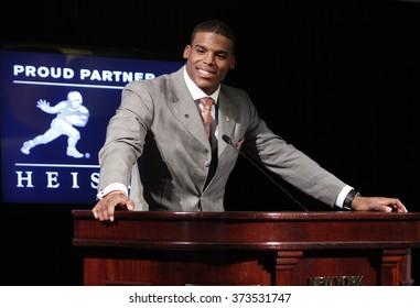 NEW YORK-DEC 11: Cam Newton, quarterback of the Auburn University Tigers, speaks after winning the 2010 Heisman Memorial Trophy Award on December 11, 2010 in New York City.