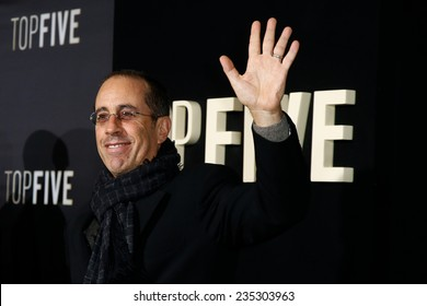 """NEW YORK-DEC 3: Comedian Jerry Seinfeld attends the """"Top Five"""" premiere at the Ziegfeld Theatre on December 3, 2014 in New York City."""