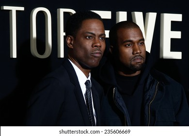 "NEW YORK-DEC 3: Comedian/actor Chris Rock and rapper Kanye West attend the ""Top Five"" premiere at the Ziegfeld Theatre on December 3, 2014 in New York City."