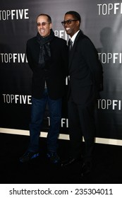 """NEW YORK-DEC 3: Comedian/actors Jerry Seinfeld (L) and Chris Rock attend the """"Top Five"""" premiere at the Ziegfeld Theatre on December 3, 2014 in New York City."""