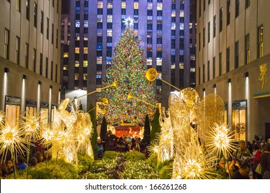 NEW YORK-DEC 5: Rockefeller Center all decorated surrounding the newly lit Christmas tree on December 5, 2013.