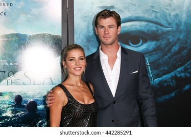 "NEW YORK-DEC 7: Chris Hemsworth (R) and Elsa Pataky attend the New York premiere of ""In the Heart of the Sea"" at Jazz at Lincoln Center's Frederick P. Rose Hall on December 7, 2015 in New York City."